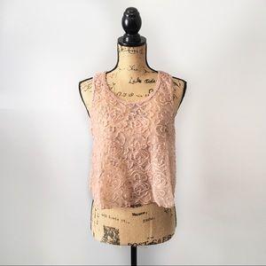 Free People Crop Top blush mesh rosette size XS